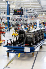 car engine assembled on the factory production line