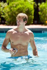 Athletic Man In Pool