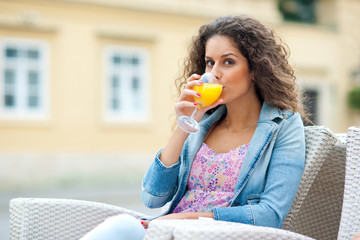 attractive woman with orange juice