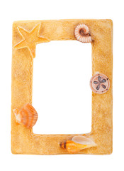 Frame with starfish and shells