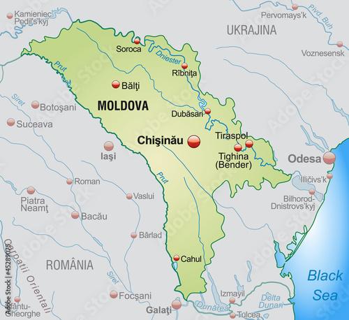 Moldawien Karte.Landkarte Von Moldawien Mit Nachbarländern Stockfotos Und