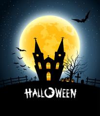 Halloween house party full moon, vector illustration