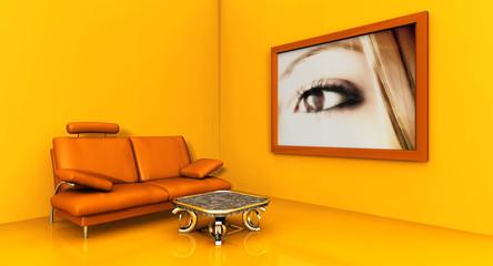 orange room with a sofa