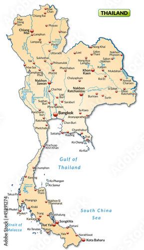 Thailand Karte.Karte Von Thailand Mit Städten Stock Photo And Royalty Free Images