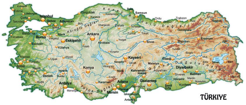 Karte der Türkei mit Schummerung
