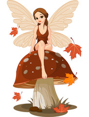 Aluminium Prints Magic world Autumn Fairy on the Mushroom