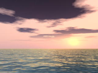 Conceptual sunset background with sun close to horizon