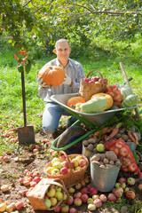 man with vegetables harvest in  garden