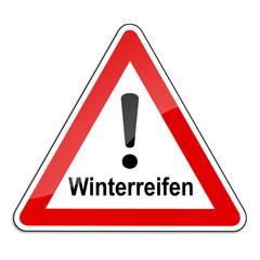 Warnschild RAL 3001 signalrot freigestellt - Winterreifen