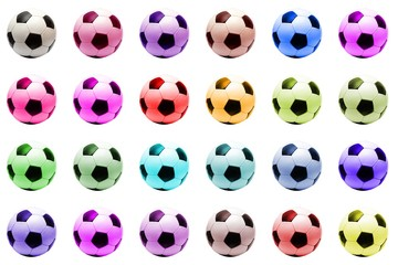 colored classic soccer balls (isolated)