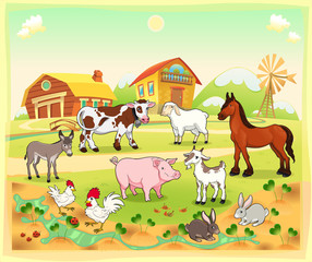 Photo sur Plexiglas Ferme Farm animals with background. Vector illustration.