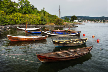 Group of colorful wooden boats