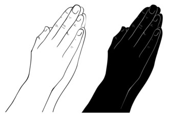 Praying Hands, outline illustration, isolated