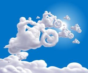Wall Mural - nuvole bikers