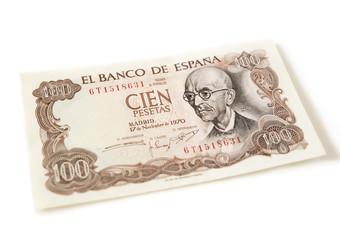 One hundred pesetas note