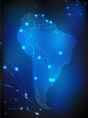 Landkarte von Südamerika mit leuchtenden Städten