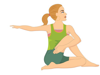 Exercising, woman doing stretching, illustration