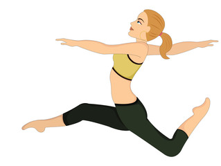 Exercising, woman doing dance jumps, illustration