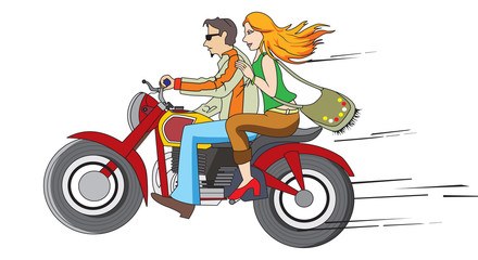 Keuken foto achterwand Motorfiets Bike Ride, illustration