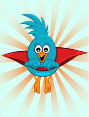 Super blue bird, illustration