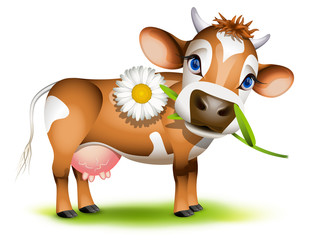 Poster Ranch Little Jersey cow eating daisy