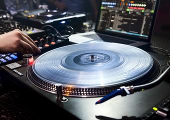 Wall Mural - DJ plays set in vinyl player