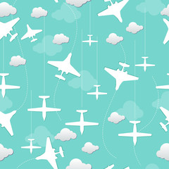 vector seamless background with airplanes and clouds