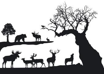 knorriger Baum mit Wildtieren