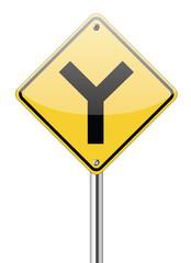 Y fork junction sign