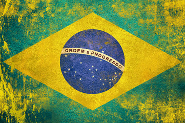 Papiers peints Brésil Brazil flag on grunge concrete wall