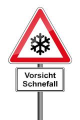 Warnschild RAL 3001 signalrot freigestellt - Vorsicht Schneefall