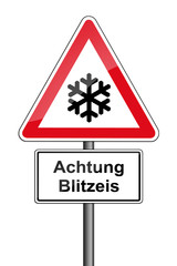 Warnschild RAL 3001 signalrot  - Achtung Blitzeis