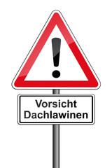 Warnschild RAL 3001 signalrot  - Vorsicht Dachlawinen