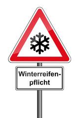 Warnschild RAL 3001 signalrot freigestellt - Winterreifenpflicht