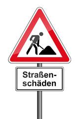 Warnschild RAL 3001 signalrot freigestellt - Straßenschäden