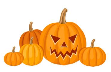 Halloween pumpkins. Vector illustration.