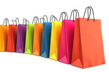3d render of colorful shopping bags
