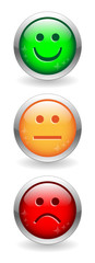 SATISFACTION SURVEY Buttons (green orange red customer feedback)