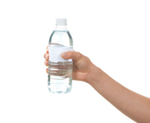 Hand hold bottle of drinking water