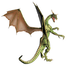 Spoed Fotobehang Draken Green Fantasy Dragon