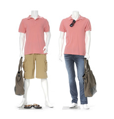 full length male mannequin dressed in t- shirt with bag