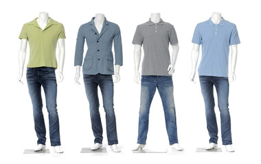 male mannequin dressed in jeans with colorful t-shirt