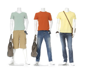 three male mannequin dressed in jeans with bag