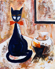 Chat norie avec un vase