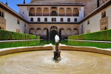 The Court of the Myrtles and Comares tower, Alhambra, Granada