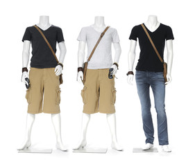 Three male mannequin dressed in t- shirt with bag