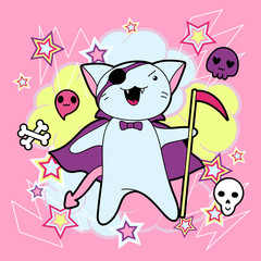 Vector kawaii illustration Halloween cat and creatures.