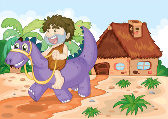 Photo sur Plexiglas Dinosaurs a boy riding on dinosaur