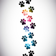abstract colorful paw prints