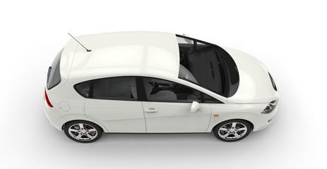 White Compact Car